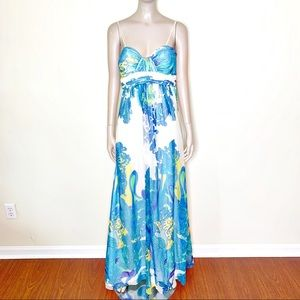 Caché Blue & Green shimmery Maxi Dress size 8